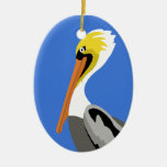 Pelican on a Piling Christmas Ornament