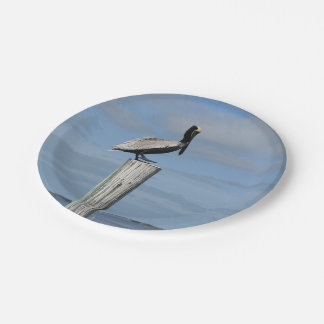 Pelican on a Post Paper Plates 7 Inch Paper Plate