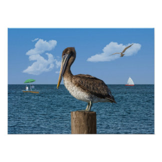 Pelican on a Post Print or Poser