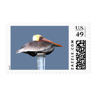 Pelican on a Stick Stamp