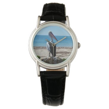Beach Themed Pelican On Beach Rock, Ladies Black Leather Watch. Watch