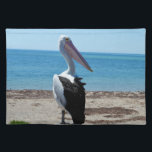 "Pelican On Beach Rock, Placemat<br><div class=""desc"">Featured standing on a beach rock by the ocean is a hungry most handsome pelican waiting for tasy fish morsels.</div>"