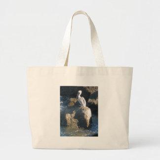 Pelican on Rocks Large Tote Bag