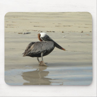 Pelican on the beach mouse pad