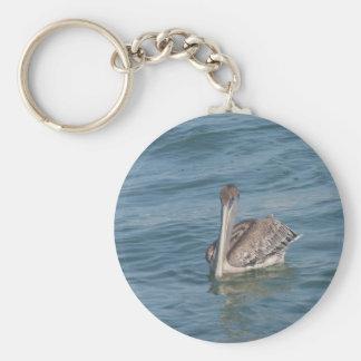 Pelican on the Inter-Coastal Basic Round Button Keychain