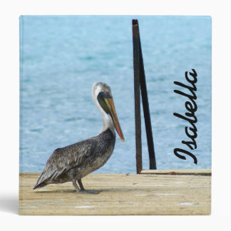 Pelican on the pier, Curacao, Caribbean Islands Binder
