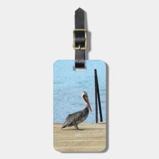 Pelican on the pier, Curacao Caribbean, Photo Bag Tag