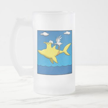 Beach Themed Pelican Pains Frosted Glass Beer Mug