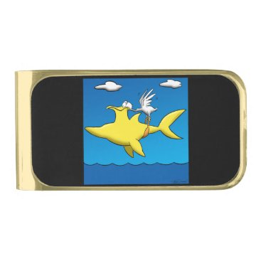 Beach Themed Pelican Pains Gold Finish Money Clip