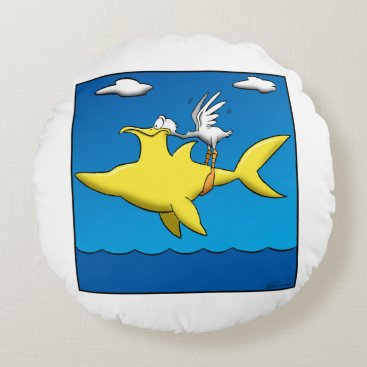 Beach Themed Pelican Pains Round Pillow