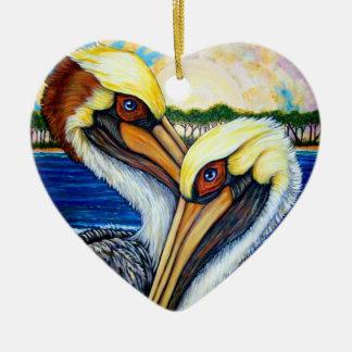 Pelican Pair Ceramic Ornament