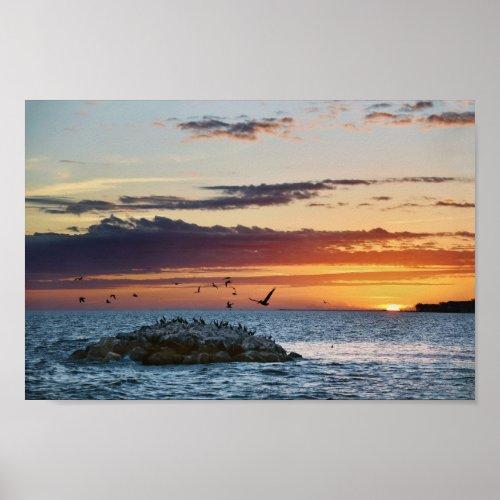 Pelican Rock Sunset, Dauphin Island, Alabama Poster