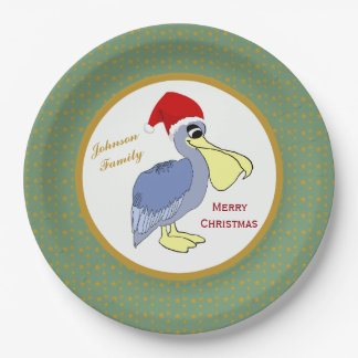 Pelican Santa Christmas 9 Inch Paper Plate