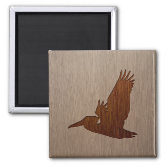 Pelican silhouette engraved on wood design 2 inch square magnet