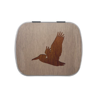 Pelican silhouette engraved on wood design candy tin