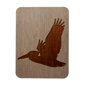 Pelican silhouette engraved on wood design rectangular photo magnet