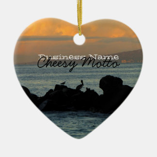 Pelican Silhouette; Promotional Ceramic Ornament