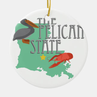 Pelican State Ceramic Ornament