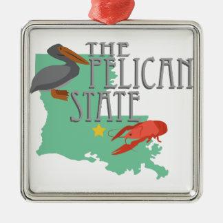 Pelican State Metal Ornament