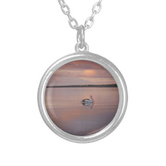 pelican sunset at Doctor's Beach South Australia Round Pendant Necklace
