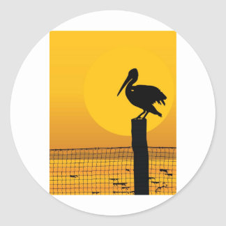 Pelican Sunset Classic Round Sticker