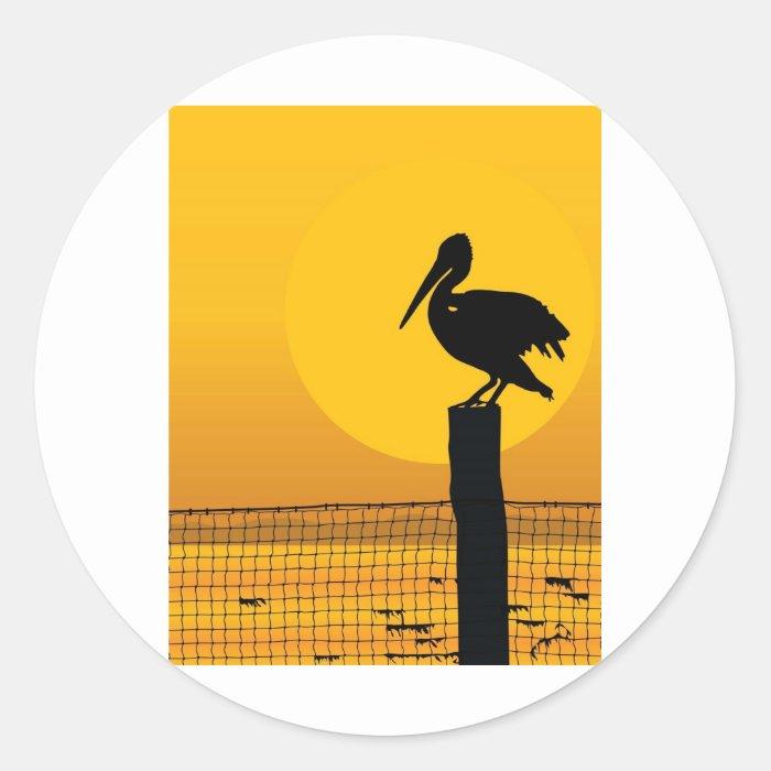 Pelican Sunset Classic Round Sticker