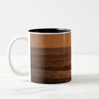 Pelican Sunset Horsfall Beach, Oregon Two-Tone Coffee Mug