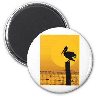 Pelican Sunset Fridge Magnets