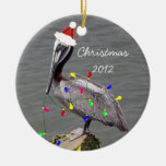 Pelican with Christmas Lights Ornaments