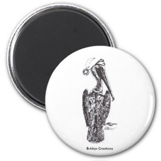 Pelican with Hat 2 Inch Round Magnet