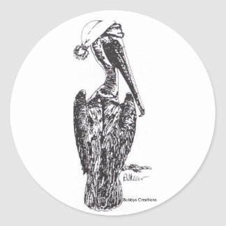 Pelican with Hat Classic Round Sticker