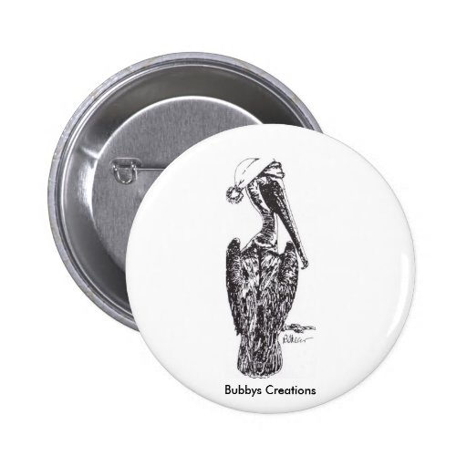 Pelican with Hat Pinback Button