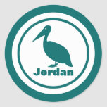 Pelican with Name Classic Round Sticker