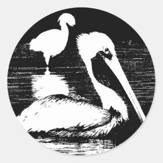 Pelican with Snowy Egret Black & White Graphic Classic Round Sticker