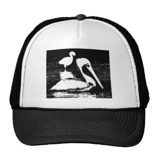 Pelican with Snowy Egret Black White Graphic Mesh Hat