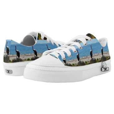 Beach Themed Pelican With The Look, Lowtops Zipz Sneakers. Low-Top Sneakers