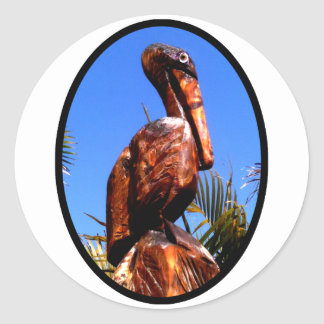 Pelican Wooden o Black The MUSEUM Zazzle Gifts Classic Round Sticker