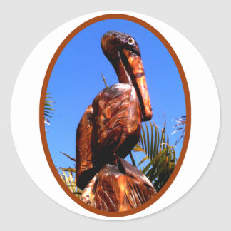 Pelican Wooden o Brown The MUSEUM Zazzle Gifts Classic Round Sticker