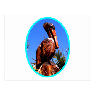 Pelican Wooden o Cyan The MUSEUM Zazzle Gifts Postcard
