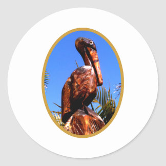 Pelican Wooden o Gold The MUSEUM Zazzle Gifts Classic Round Sticker