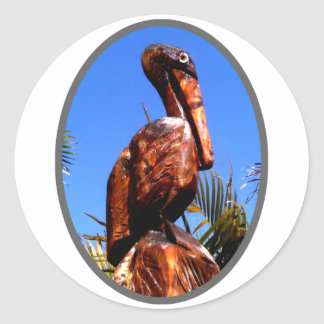 Pelican Wooden o Silver The MUSEUM Zazzle Gifts Classic Round Sticker