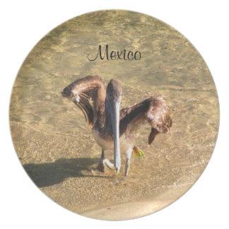 Pelícano Bathtime; Recuerdo de México Plato De Comida