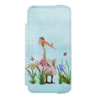 Pelícano blanco con las flores y las mariposas funda billetera para iPhone 5 watson
