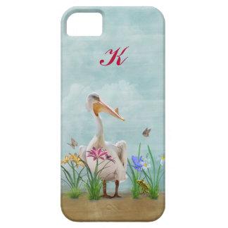 Pelícano blanco, flores y mariposas, monograma funda para iPhone 5 barely there