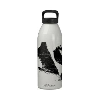 Pelícano con el gráfico negro y blanco del Egret n Botella De Agua