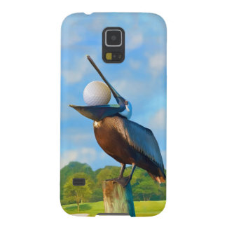 Pelícano de Brown con la pelota de golf Fundas Para Galaxy S5