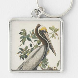 Pelícano de Brown de Audubon Llavero Cuadrado Plateado