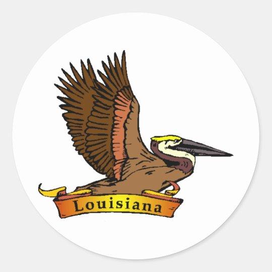 Pelícano de Luisiana Brown Pegatina Redonda