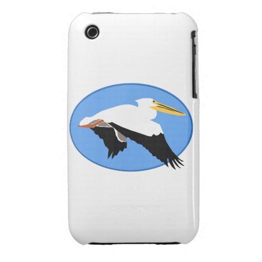 Pelícano del vuelo en óvalo azul Case-Mate iPhone 3 carcasa