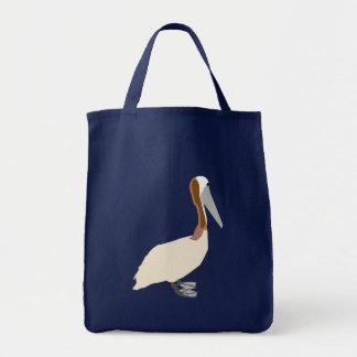 Pelícano en bolso azul bolsa tela para la compra